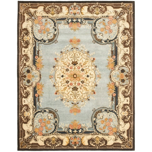 Safavieh Handmade Bliss Light Blue/ Ivory Hand-spun Wool Rug - 8' x 10'