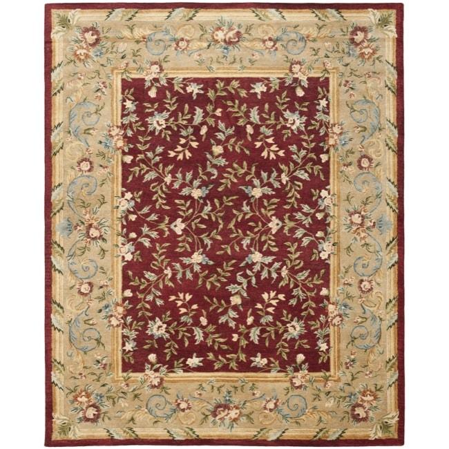 Safavieh Handmade Gardens Red/ Dark Beige Hand-spun Wool Rug (9'6 x 13'6)