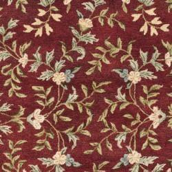 Safavieh Handmade Gardens Red/ Dark Beige Hand-spun Wool Rug (9'6 x 13'6) - Thumbnail 2