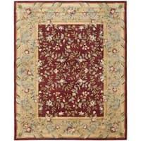 Safavieh Handmade Gardens Red/ Dark Beige Hand-spun Wool Rug - 9'6 x 13'6
