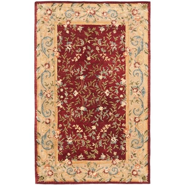 """Safavieh Handmade Gardens Red/ Dark Beige Hand-spun Wool Rug - 9'6"""" x 13'6"""""""