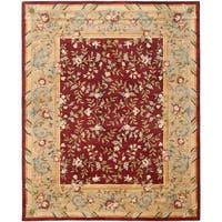 Safavieh Handmade Gardens Red/ Dark Beige Hand-spun Wool Rug - 9' x 12'