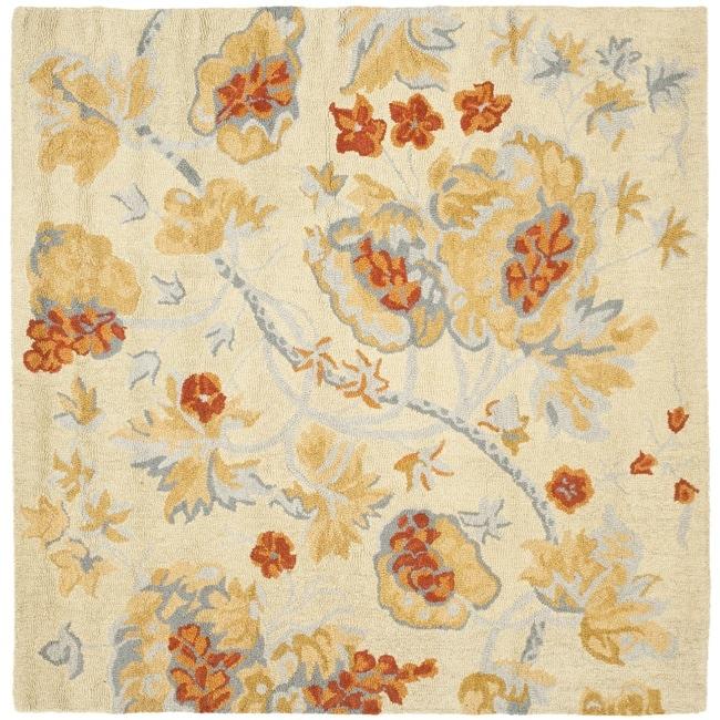 Safavieh Handmade Blossom Beige/Blue Wool Rug (6' Square)