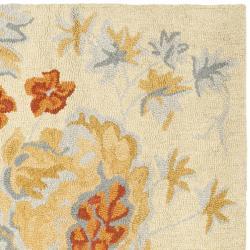 Safavieh Handmade Blossom Beige/Blue Wool Rug (6' Square) - Thumbnail 1