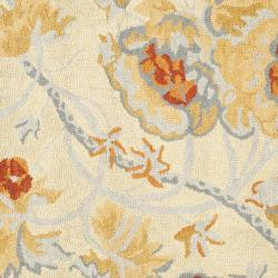 Safavieh Handmade Blossom Beige/Blue Wool Rug (6' Square) - Thumbnail 2