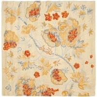 Safavieh Handmade Blossom Beige/Blue Wool Rug - 6' x 6' Square