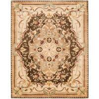 """Safavieh Handmade Aubusson Creteil Brown/ Beige Wool Rug - 8'3"""" x 11'"""
