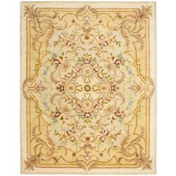 Safavieh Handmade Aubusson Creteil Beige/ Light Gold Wool Rug (7'6 x 9'6)