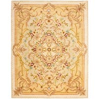"Safavieh Handmade Aubusson Creteil Beige/ Light Gold Wool Rug - 7'-6"" X 9'-6"""