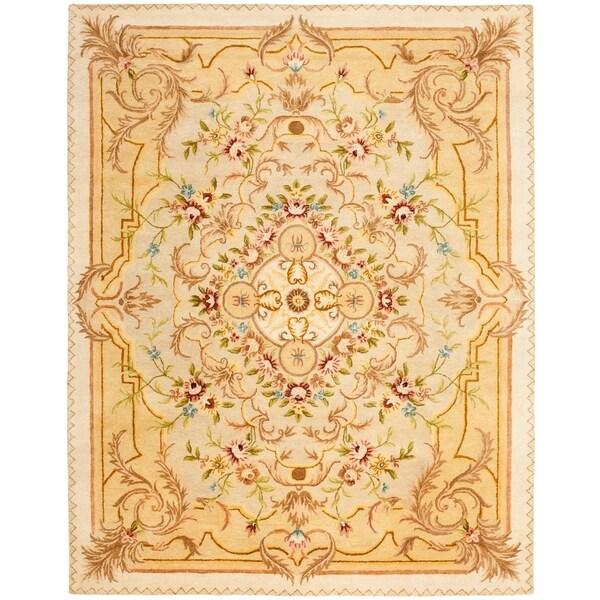 """Safavieh Handmade Aubusson Creteil Beige/ Light Gold Wool Rug - 7'6"""" x 9'6"""""""
