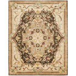 Safavieh Handmade Aubusson Creteil Brown/ Beige Wool Rug (5' x 8')