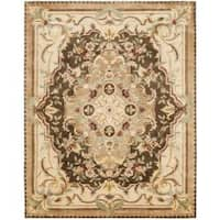 Safavieh Handmade Aubusson Creteil Brown/ Beige Wool Rug - 5' x 8'