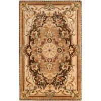 Safavieh Handmade Aubusson Creteil Brown/ Beige Wool Rug - 6' x 9'