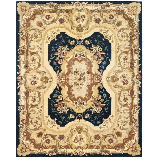 Safavieh Handmade Aubusson Plaisir Navy/ Beige Wool Rug - 9'6 x 13'6