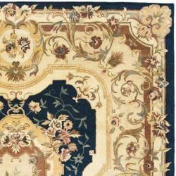 Safavieh Handmade Aubusson Plaisir Navy/ Beige Wool Rug (9'6 x 13'6) - Thumbnail 1