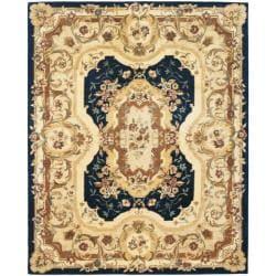Safavieh Handmade Aubusson Plaisir Navy/ Beige Wool Rug - 9'6 x 13'6 - Thumbnail 0