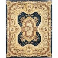 Safavieh Handmade Aubusson Plaisir Navy/ Beige Wool Rug (8'3 x 11') - 8'3 x 11'