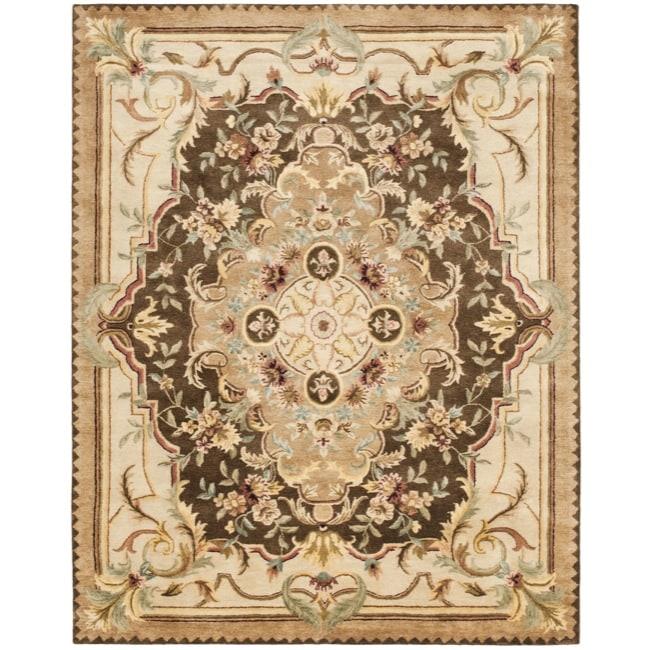 Safavieh Handmade Aubusson Creteil Brown/ Beige Wool Rug (7'6 x 9'6)