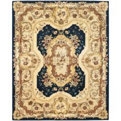 Safavieh Handmade Aubusson Plaisir Navy/ Beige Wool Rug (7'6 x 9'6)
