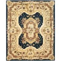 Safavieh Handmade Aubusson Plaisir Navy/ Beige Wool Rug - 7'6 x 9'6