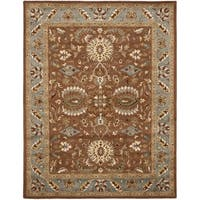 Safavieh Handmade Heritage Timeless Traditional Brown/ Blue Wool Rug - 7'6 x 9'6