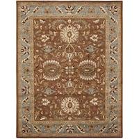 Safavieh Handmade Heritage Timeless Traditional Brown/ Blue Wool Rug (7'6 x 9'6)