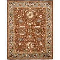 "Safavieh Handmade Heritage Timeless Traditional Brown/ Blue Wool Rug - 7'6"" x 9'6"""