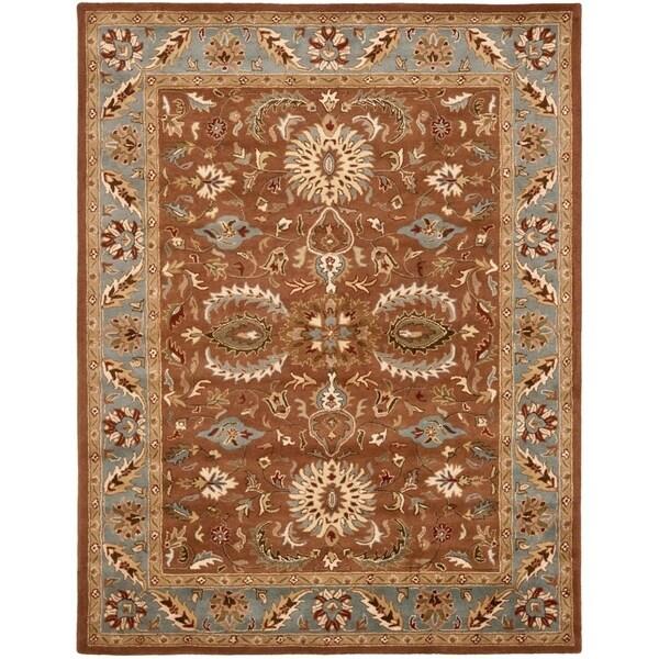"Safavieh Handmade Heritage Timeless Traditional Brown/ Blue Wool Rug - 7'-6"" X 9'-6"""