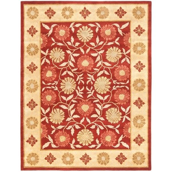 "Safavieh Handmade Heritage Timeless Traditional Red/ Beige Wool Rug - 7'6"" x 9'6"""