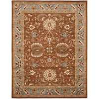 "Safavieh Handmade Heritage Timeless Traditional Brown/ Blue Wool Rug - 9'6"" x 13'6"""