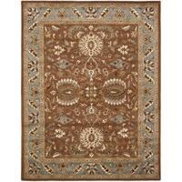Safavieh Handmade Heritage Timeless Traditional Brown/ Blue Wool Rug - 6' x 9'