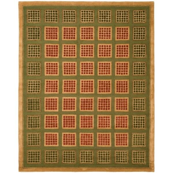 Safavieh Handmade New Zealand Wool Blocks Green Rug - 9' x 12'