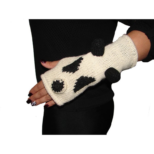 Hand-woven Wool Panda Arm Warmers (Nepal)