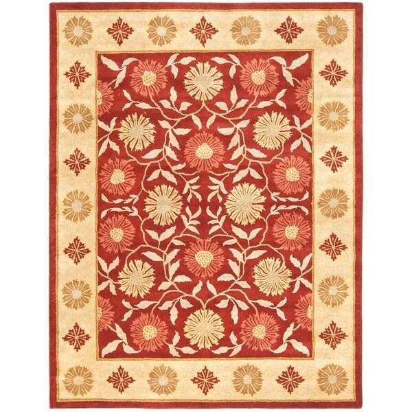 "Safavieh Handmade Heritage Timeless Traditional Red/ Beige Wool Rug - 8'3"" x 11'"