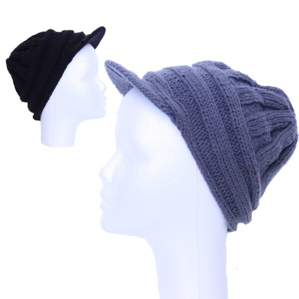 Black or Grey Solid Brim Wool Beanie (Nepal)