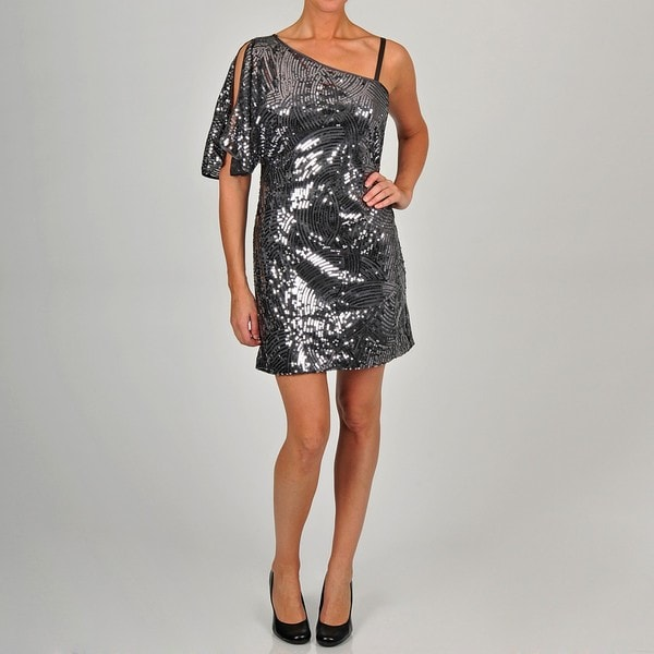 Ignite Evenings Women's Gunmetal Sequin One-shoulder Dress
