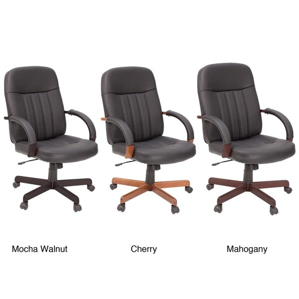 Ethos Wooden Arms and Base Soft Touch Leather Office Chair