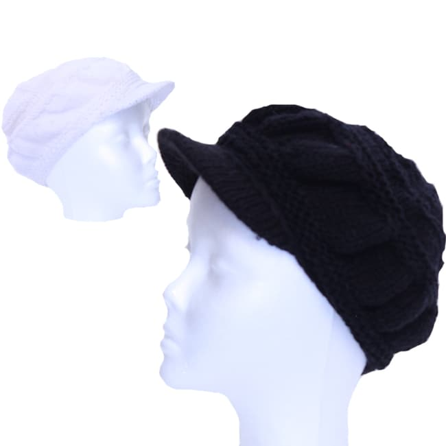 Black or White Solid Brim Wool Beanie (Nepal)