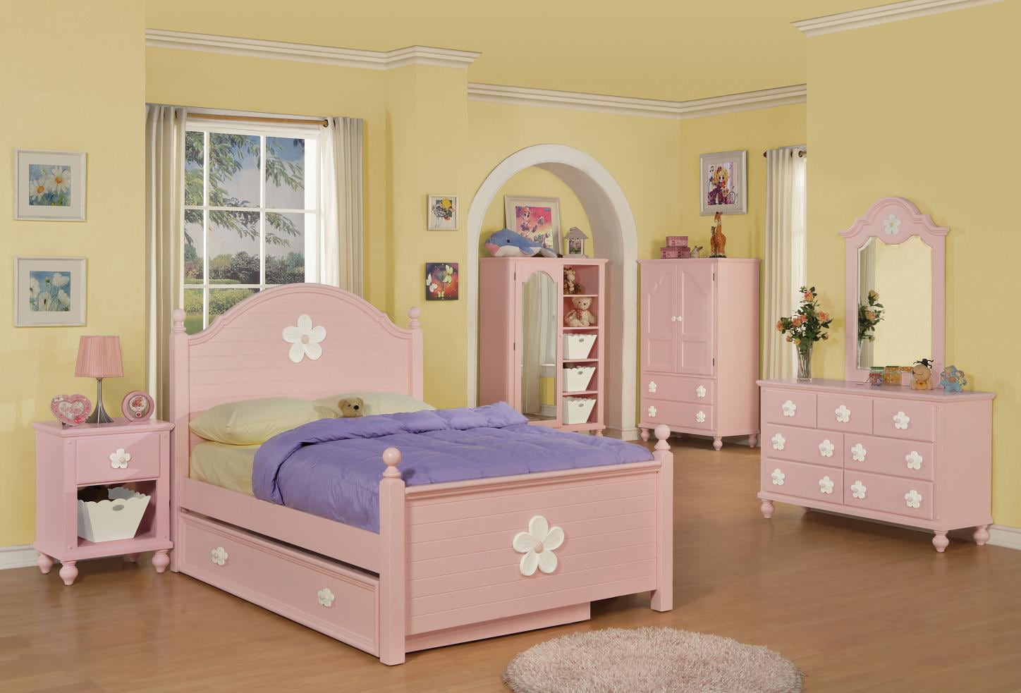 shop white and pink flower twin size bed free shipping today overstock 6287651. Black Bedroom Furniture Sets. Home Design Ideas