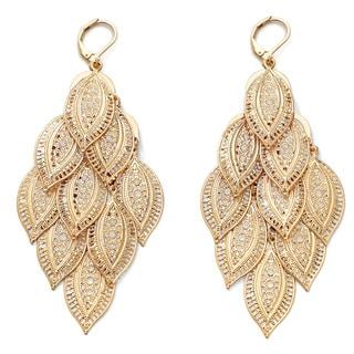 PalmBeach Yellow Goldtone Filigree Leaf Dangling Earrings Bold Fashion
