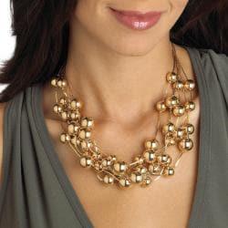 Toscana 17-inch Goldtone High-polish Brass Link Beaded Necklace