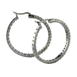 PalmBeach 2.17 TCW Round Cubic Zirconia Black Rhodium-Plated Inside-Out Hoop Earrings Bold Fashion