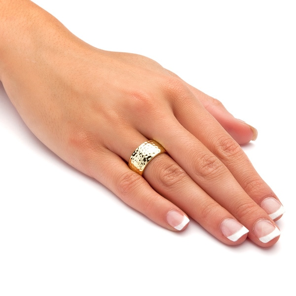 Yellow Gold-Plated Hammered Style Ring (10mm). Opens flyout.