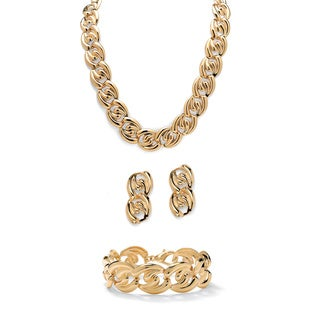 Curb-Link Necklace, Bracelet and Drop Earrings 3-Piece Set in Yellow Gold Tone Bold Fashio