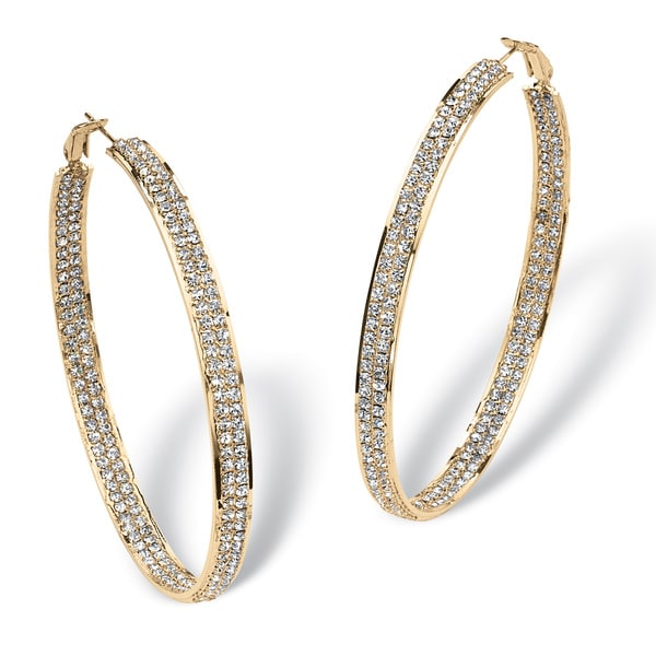 Crystal Inside-Out Hoop Earrings in Yellow Gold Tone Bold Fashion