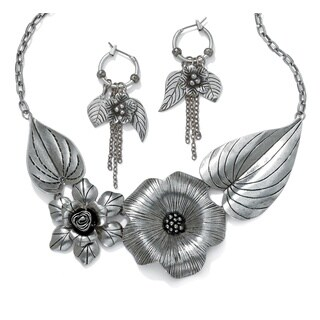 Silvertone Antique-Finish Flower and Leaf Bib Necklace and Earrings Set Bold Fashion