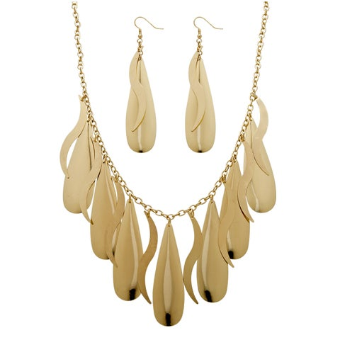 2 Piece Teardrop Necklace and Earrings Set in Yellow Gold Tone Bold Fashion