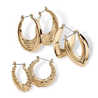 3 Pair Hoop Earrings Set in Yellow Gold Tone Tailored