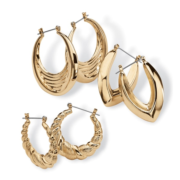 3 Pair Hoop Earrings Set in Yellow Gold Tone Tailored