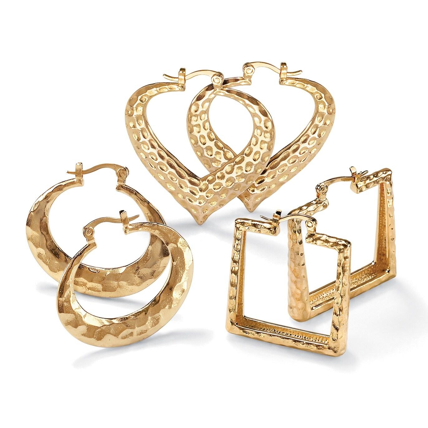 PalmBeach 14k Goldplated High Polish 3-Pair Hoop Earring Set Tailored